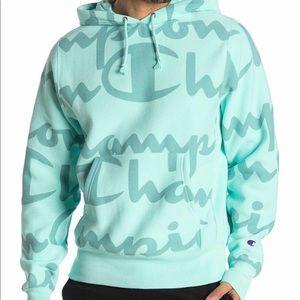 Champion Logo Print Hoodie Coral Mint Green Sz 2XL